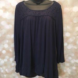 Lauren Conrad Navy high low blouse. Size Large